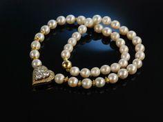 Diamond Heart Akoya Pearl Necklace! Collier Brillanten 1,5 ct Akoya Zuchtperlen Gold 750 Herz Motiv