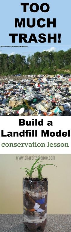 Too much trash! This Earth Day, teach conservation by learning about where our trash goes and stays...the landfill! Build a model with your kids and students to teach environmental science and mindfulness. Fun science, STEM and STEAM activities, lessons and ideas for kids, teachers and parents.