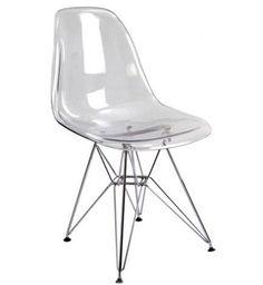 Silla con estructura metálica y asiento transparente