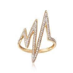 .36 ct. t.w. Diamond Lightning Bolt Ring in 14kt Yellow Gold