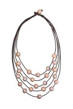 Pink Freshwater Constellation Necklace -Pink Freshwater Pearls -Premium Leather VINCENT PEACH Pink Freshwater Pearl Necklace