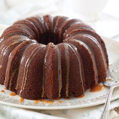 German Chocolate Bundt Cake with Butterscotch Glaze