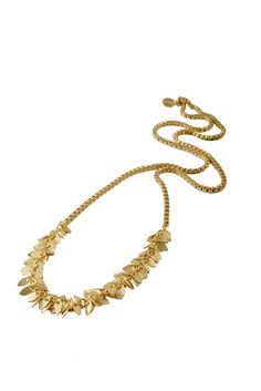 Gold Chain Leaf Necklace - Long necklace - Wedding Necklace - Bridesmaid Jewelry - Elegant Jewelry - Delicate Jewelry - Leaf Jewelry  Beautiful and impressive gold plated long brass chain leaf necklace.  It is a romantic vintage inspired piece, that gives a delicate, yet fashionable and timeless touch.  Very comfortable and delicate, perfect for your romantic look!  $52.00