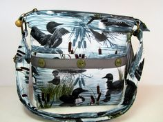 Loons and Cattails Handmade Fabric Purse / Case for Glasses / Cross Body Handbag by DarlingsDesigns on Etsy