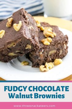Learn how to make the best fudgy walnut brownies from scratch. This easy homemade recipe uses cocoa powder, chocolate chips and butter (not oil) for chewy, gooey brownies that are way better than from a box mix. These brownies are topped with a simple and tasty chocolate buttercream frosting. Nut Recipes, Brownie Recipes, Chocolate Recipes, Sweet Recipes, Chocolate Snacks, Chocolate Chip Brownies, Chocolate Frosting, Gooey Brownies, Chocolate Chips