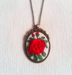 "OOAK Pendant embroidered natural silk ribbon ""Red Rose"" - Vintage necklace - Embroidered necklace - Gift for Her - Stylish accessory by SilkRibbonBoutique on Etsy"