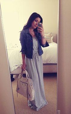Fall Outfit: Striped Maxi Dress + Denim jacket