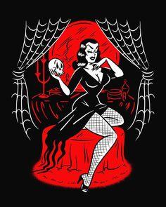 Vampira by Sveta Shubina Vintage Horror, Vintage Cartoon, Vintage Comics, Cartoon Art, Vintage Art, Vintage Pins, Retro Kunst, Retro Art, Halloween Pin Up