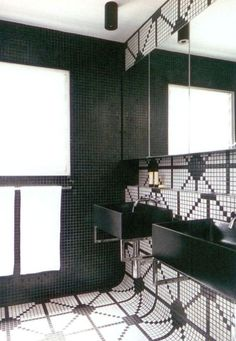 bathroom - black and white tile