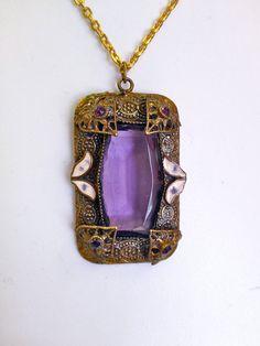Vintage Edwardian Czech Amethyst Purple Art Glass in by HoiPollois, $199.00