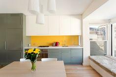 Los colores dividen la cocina en zonas visuales