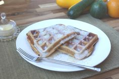 Barefeet In The Kitchen: Brown Sugar and Spice Whole Wheat Zucchini Waffles