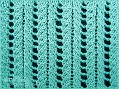 A very simple but elegant lace rib stitch. Knitted in a multiple of 6 sts, and 2-row repeat. Row 1: * k2tog, k1, 2yo, k1, ssk; repeat from * to end. Row 2: * p3, p1 tbl, p2; repeat from * to end.  Knitting abbreviations: Knit: K | Purl: P | Purl through the back loop: P tbl Yarn over: Yo | Knit 2 sts together: K2tog | Slip slip knit: Ssk.