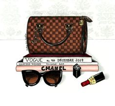 Illustration Print of Louis Vuitton Speedy Damier, Chanel Lipstick, Cateye Sunglasses, Vogue Magazine, Harper's Bazaar, and Chanel Book