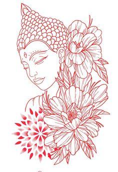 Buddha Tattoo Design, Tattoo Design Drawings, Tattoo Sketches, Art Drawings, Buddha Drawing, Buddha Painting, Buddha Art, Neue Tattoos, Body Art Tattoos