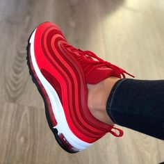 Brand new, authentic, pair of Nike Air Max 97 Gym Red Sizing is Womens === Shipping Info === Shipping to UK = business days Shipping to. Moda Sneakers, Sneakers Mode, Cute Sneakers, Best Sneakers, Sneakers Fashion, Fashion Shoes, Shoes Sneakers, Red Sneakers Outfit, Red Nike Shoes