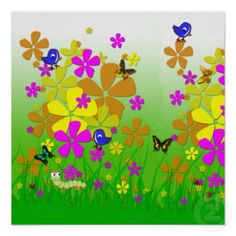 Whimsical Garden Poster by Graphic Allusions (also available on a large of range of other products including iphone cases, mugs, shirts and more). #cute #posters #whimsical