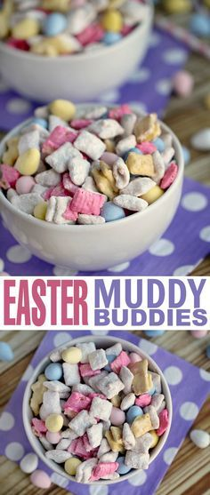 These Easter Muddy Buddies are perfect for an Easter snack or Easter dessert - this recipe will quickly become one of your favourite puppy chow recipes!