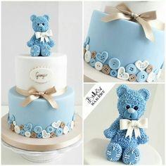 Bear boy baby shower cake