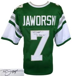 Ron Jaworski Signed Custom Green Throwback Football Jersey Fly Eagles Fly JSA