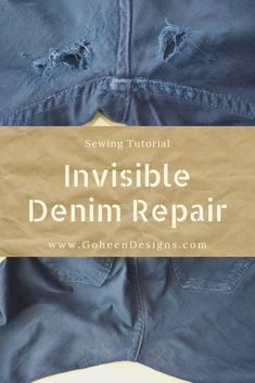 by Indigo Proof and Closet Case Patterns, I try to mend the holes in my husbands jeans with an invisible repair technique.Inspired by Indigo Proof and Closet Case Patterns, I try to mend the holes in my husbands jeans with an invisible repair technique. Sewing Jeans, Sewing Clothes, Diy Clothes, Sewing Patterns Free, Free Sewing, Hand Sewing, Techniques Couture, Sewing Techniques, Sewing Hacks