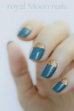 Half Moon Nails With Gold Glitter: http://sonailicious.com/moon-nails-with-glitter-sonailicious-nails/