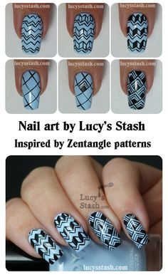 Another patterned manicure featuring Zoya Blu! Nail Art Diy, Easy Nail Art, Cool Nail Art, Diy Nails, Cute Nails, Pretty Nails, Nails Decoradas, Nail Art For Beginners, Nail Patterns