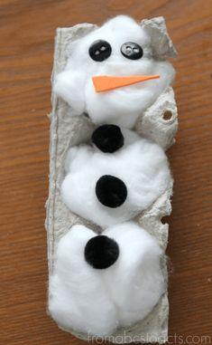 Winter Crafts for Kids - Egg Carton Snowman