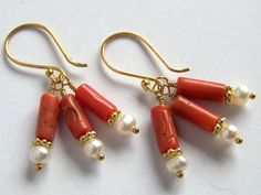Italian Coral and Pearl Earrings Gold Vermeil Mediterranean