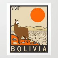 Visit Bolivia Art Print by Jazzberry Blue