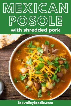 This Mexican Posole soup is bursting with Mexican flavors. It's made with tender shredded pork, the deep taste of cumin, bright splashes of lime and cilantro, and a tangy splash of hot sauce. This posole recipe is easy to make when you use a Dutch oven. Just let the pork cook for 5-6 hours while you go about your day and then come back to finish it up 30 minutes before you are ready to eat. Easy Dinner Recipes, Yummy Recipes, Soup Recipes, Easy Meals, Healthy Recipes, Mexican Posole, Posole Soup, Shredded Pork Recipes, Good Food