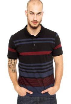Camisa Polo DAFITI EDGE Listras Preta Polo Masculina a99b97d47a286