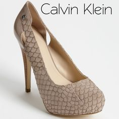 "Calvin Klein Evonne Fish Skin Platform Pumps Calvin Klein Evonne Fish Skin Platform Pumps, taupe, size 9, approx 5"" heels. Well worn, in fair condition. There is a small stain (see photos) but still some life left. Price reflects condition. Calvin Klein Shoes Heels"