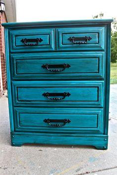 Bondi Blue Vintage Chest/ Bedroom Furniture/ Black Drawer Pulls/ TV Stand/ Storage/ Distressed