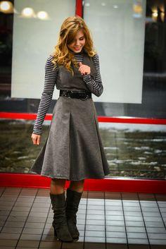 Fresh Modesty: No Condemnation // in Gray Stripes #modesty #modestdress #modestoutfit