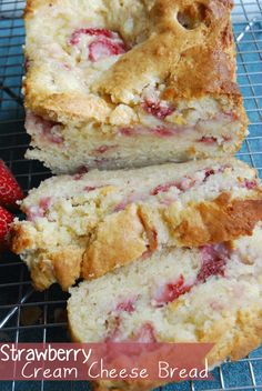 Strawberry Cream Cheese Bread 1/2 cup butter, softened 1 cup sugar 4 ounces cream cheese, softened 2 eggs 1 teaspoon vanilla extract 2 cups flour 2 teaspoons baking powder 1/2 teaspoon baking soda 1/2 teaspoon Kosher salt 1/2 cup buttermilk 1 1/2 cups strawberries, rinse, dried and chopped