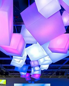 Exhibition with colorful glowing cubes Stand Design, Display Design, Booth Design, Art Design, Exhibition Display, Exhibition Space, Futuristic Party, Displays, Environmental Design