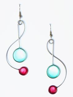 Stainless steel dangle earrings in light blue and pink - handmade jewelry. $35.00, via Etsy.