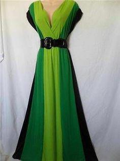 2X 18 20 Green Lime Rockabilly Long Maxi Summer Black Knit Dress Color Block | eBay