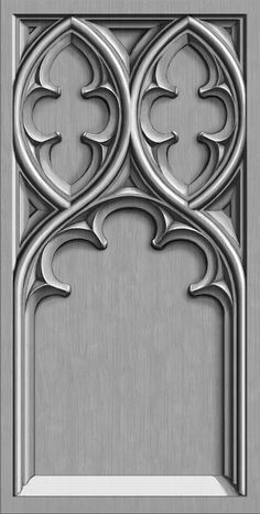Designs for carved Gothic tracery panels. Computer drawing.