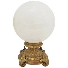 Large Rock Crystal Ball on Gilt Bronze Stand 1200   From a unique collection of antique and modern decorative objects at https://www.1stdibs.com/furniture/more-furniture-collectibles/decorative-objects/