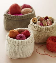 Knitted baskets.