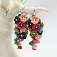 Midsummer night blues Color Combinations, Polymer Clay, Blues, Drop Earrings, Night, Biscuit, Floral, Handmade, Fimo