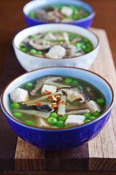 Slow Cooker Hot and Sour Soup #vegan #slowcooker (mushrooms, shitake mushrooms, bamboo shoots, garlic, ginger, vegan bouillon(?), chili paste, peas fresh or frozen)