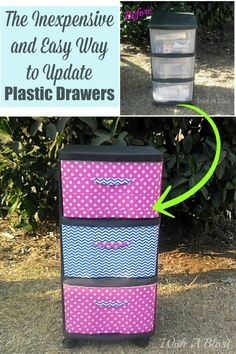 The inexpensive and easy way to update plastic drawer storage.