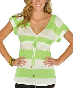 This Neon Green Stripe Drawstring V-Neck Top by Lagaci is perfect! #zulilyfinds