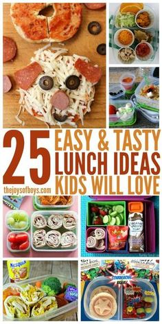 I love these easy lunch ideas! I get so tired of making sandwiches for my boys and I'm sure they are tired of eating them. School lunches don't have to be boring. Easy School Lunches, Healthy Lunches For Kids, Kids Lunch For School, Lunch Ideas For Toddlers, Preschool Lunch Ideas, Easy Kids Meals, Lunch Snacks, Easy Toddler Lunches, Lunch Recipes