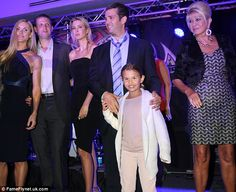 Welcome to the family: Pictured from left, Lara, Eric, Ivanka Trump, Donald Trump Jr. with his oldest daughter and matriarch Ivana Trump.