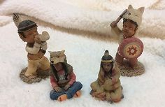 "Vintage Set of 4 Non Native American Indians 2 and 3 1/2""Tall"