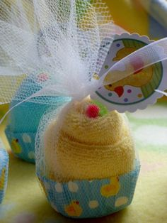 Just Ducky...Baby Shower Favors...Washcloth Cupcakes...Duck Themed Baby Shower...Neutral...Bundle of 10...One Free :) on Etsy, $19.35